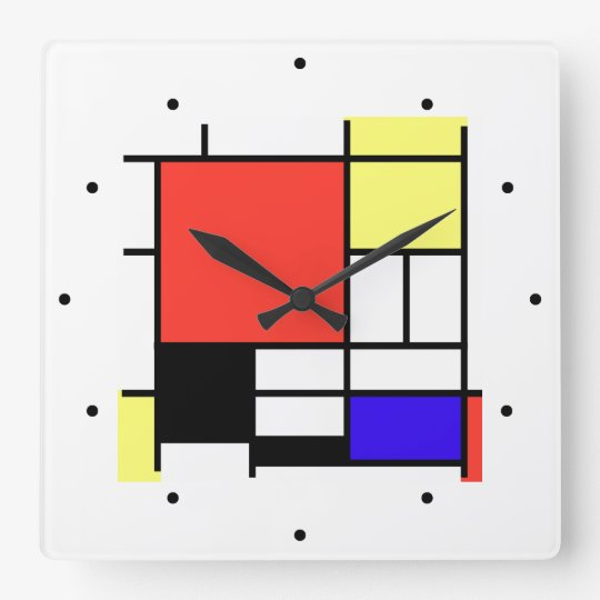 Piet Mondriaan , 1926 Composition スクエア壁時計