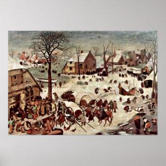 Pieter Bruegel年長者-ベスレヘムの人口調査 ポスター