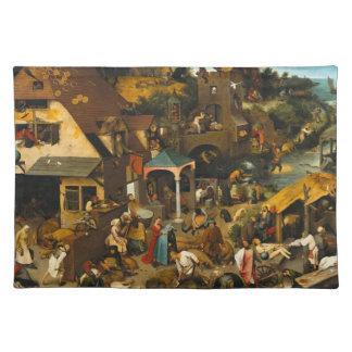 Pieter Bruegel年長者- Netherlandishの諺 ランチョンマット