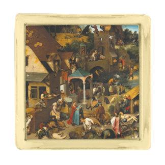 Pieter Bruegel著オランダの諺年長者 金色 ラペルピン