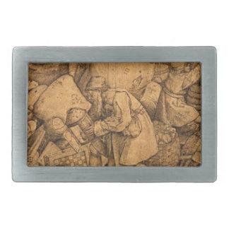 Pieter Bruegel著ペリシテ人年長者 長方形ベルトバックル