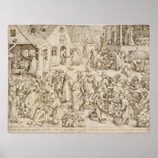Pieter Bruegel著Caritas (慈善)年長者 ポスター