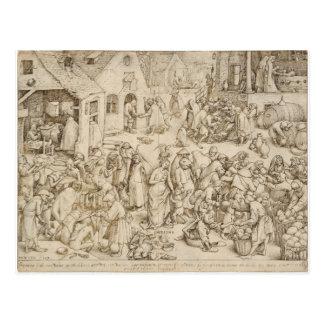 Pieter Bruegel著Caritas (慈善)年長者 ポストカード