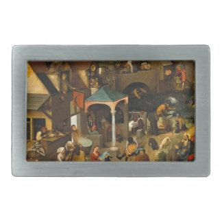 Pieter Bruegel著Netherlandishの諺年長者 長方形ベルトバックル