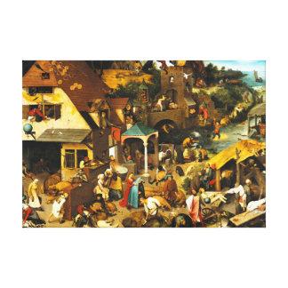 Pieter Bruegel Netherlandishの諺 キャンバスプリント