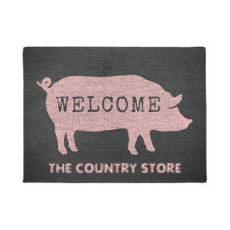 Pig Silhouette Custom Welcome Mat ドアマット