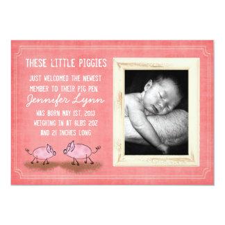 Piggiesのピンクの発表 カード