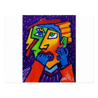 Piliero著泣く女性D 1 ポストカード