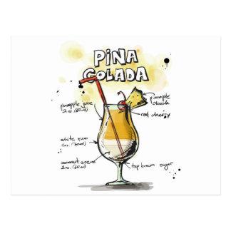 Pina Coladaの飲み物のレシピのデザイン ポストカード