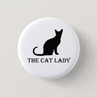 Pinback Badge Button猫の女性 3.2cm 丸型バッジ