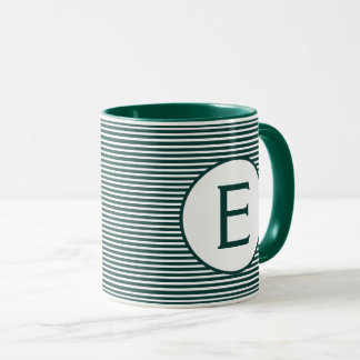 Pine Green Stripe Monogram マグカップ