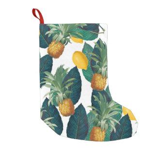 pineapleおよびレモン白 スモールクリスマスストッキング