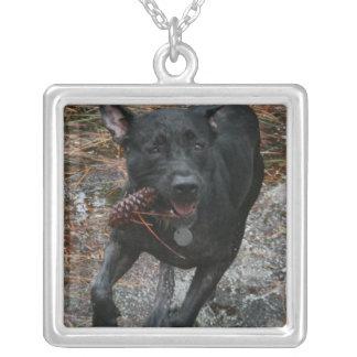 Pineconeのランニングを用いる黒い実験室犬 シルバープレートネックレス