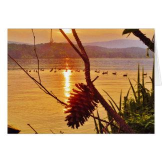 Pinecone湖の日没 カード
