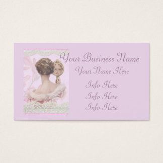 Pink美しいヴィンテージの女性 名刺