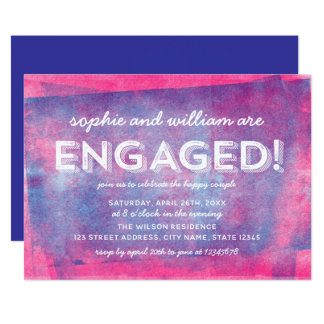 Pink and Blue Rolled Ink Engaged! Engagement Party カード