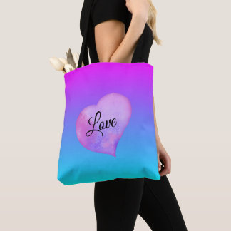 Pink and Blue Watercolor Heart Love トートバッグ