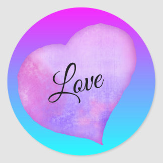 Pink and Blue Watercolor Heart Love ラウンドシール