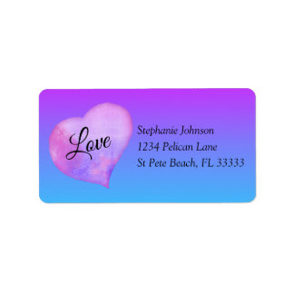Pink and Blue Watercolor Heart Love Address Label ラベル