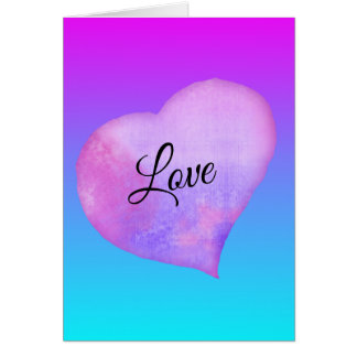 Pink and Blue Watercolor Heart Valentine's Day カード