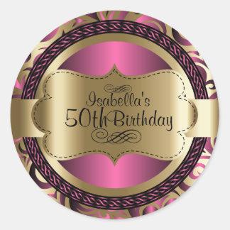 Pink and Gold Abstract Birthday ラウンドシール