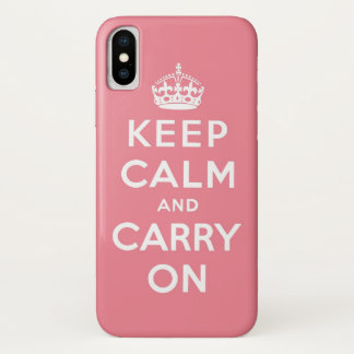 Pink and white keep calm and carry on iPhone x ケース