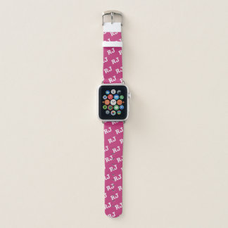 Pink and White Monogrammed Motif Apple Watch Band Apple Watchバンド
