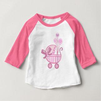 Pink Baby Girl Stroller T-Shirt ベビーTシャツ