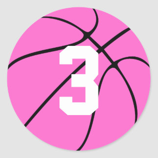 Pink Basketball Player Jersey Number or Initial ラウンドシール