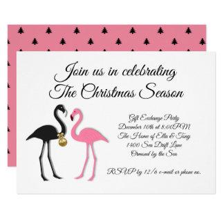 Pink Black Flamingos Christmas Party Invitation カード