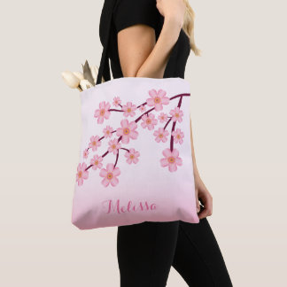 Pink Cherry Blossom Sakura Floral Branch With Name トートバッグ