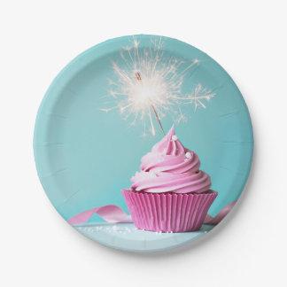 "Pink Cupcake Themed Paper Plates 7"" ペーパープレート"