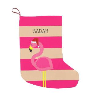 Pink Flamingo Personalized Stocking スモールクリスマスストッキング