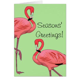 Pink Flamingos Seasons Greetings カード