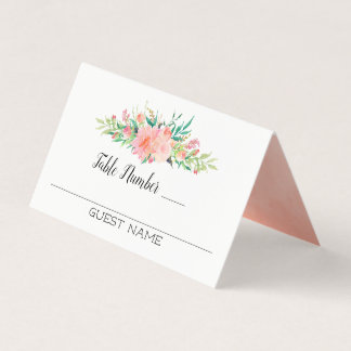 Pink Floral Bouquet Guests and Table Numbers プレイスカード