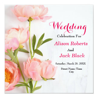 Pink Floral Reception Card カード