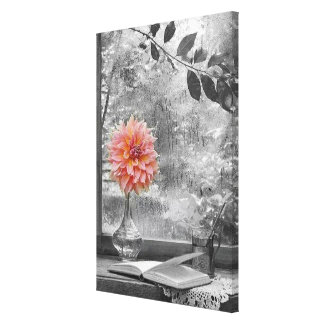 pink flower on a rainy day canvas print キャンバスプリント