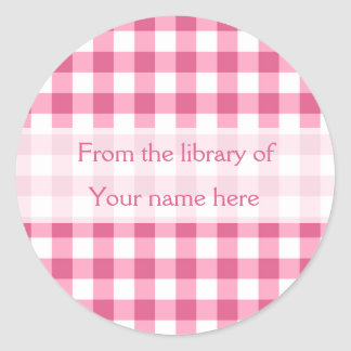 Pink Gingham From The Library of Bookplates ラウンドシール