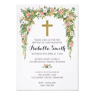 Pink Gold floral Baptism / Christening Invitation カード