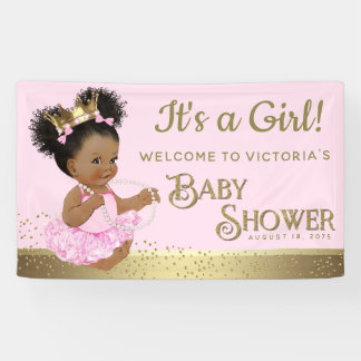 Pink Gold Princess Baby Shower Banners 横断幕