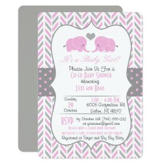 Pink Gray Elephant Baby Shower Invitation カード