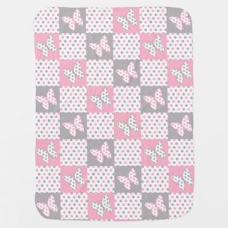 Pink Gray Grey Butterfly Polka Dot Girl Nursery ベビー ブランケット