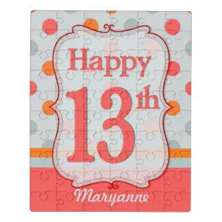Pink Orange Gray Polka Dots 13th Birthday Custom ジグソーパズル