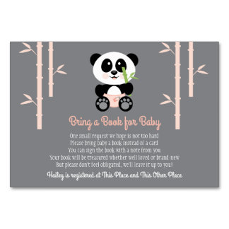 PINK PANDA BABY SHOWER BOOK REQUEST CARD カード