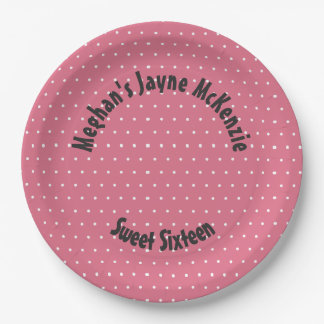 Pink Polka Dot Sweet 16 ペーパープレート