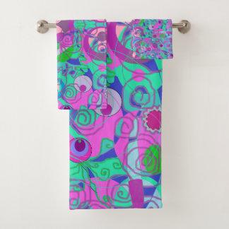 pink purple blue abstract swirls towel set バスタオルセット