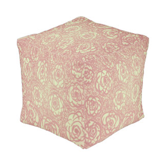 Pink Rose Pattern Cube Pouf プーフ