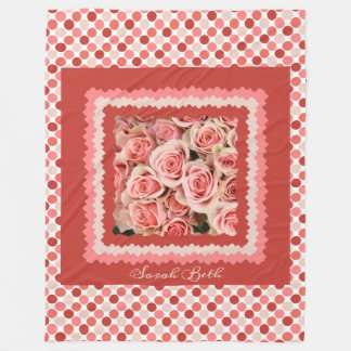 Pink Roses, on pinks & polka dots; add name フリースブランケット