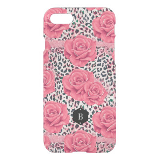 Pink Roses Wild Leopard Print Personalized iPhone 8/7 ケース