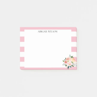 Pink Stripes Spring Peonies Personalized ポストイット